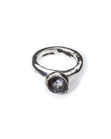 Black Copernico, anello cavo in argento