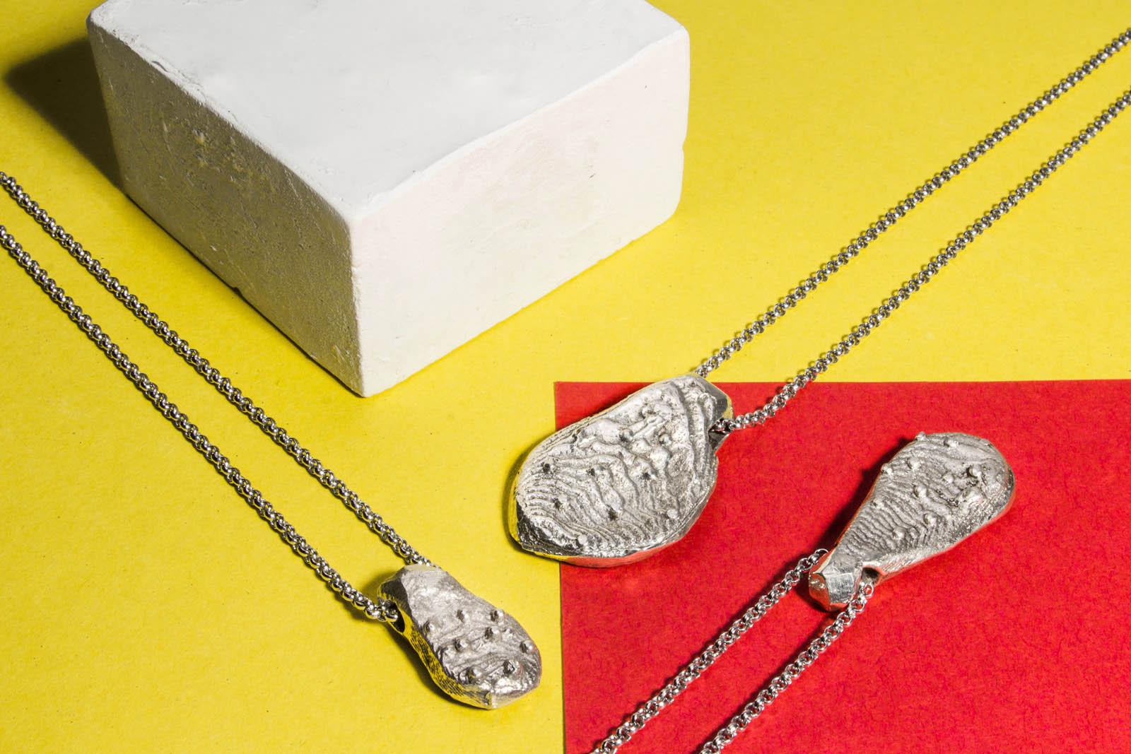 Pendenti in argento ispirati alla pala del fico d'india.