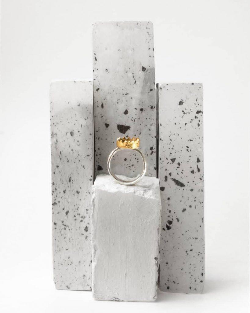 Anello artigianale, linea materica gioielli Ossi di Seppia.